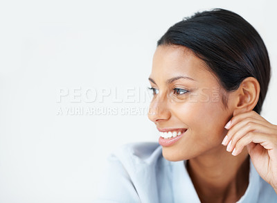 Buy stock photo Closeup of mixed race business woman smiling on white background