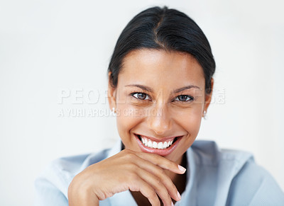 Buy stock photo Closeup of mixed race business woman with friendly smile
