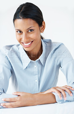 Buy stock photo Portrait of confident mixed race female executive smiling over white background