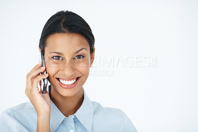 Buy stock photo Portrait of gorgeous business woman using mobile phone over white background