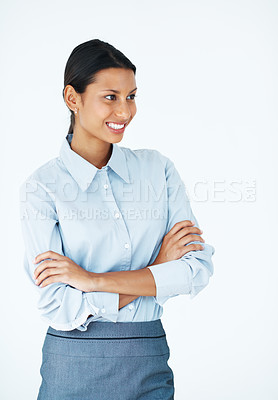 Buy stock photo Mixed race female executive looking at copyspace with hands folded