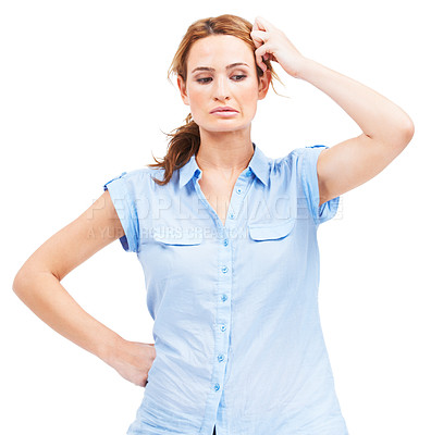 Buy stock photo Beautiful young woman wondering how to deal with an embarrassing problem