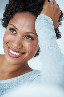 Buy stock photo Closeup smiling young woman thinking while resting head on hand