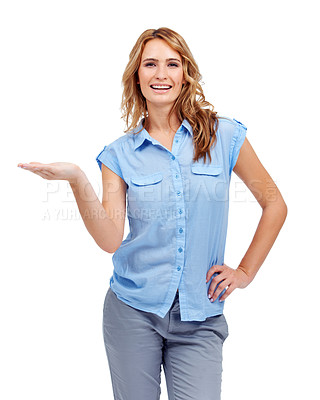 Buy stock photo A beautiful woman holding her palm up for you to place your awesome product on!