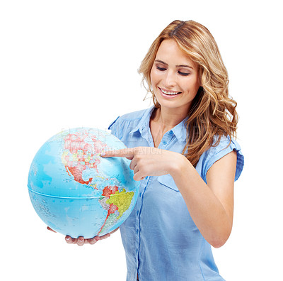 Buy stock photo A pretty young woman pointing to the East Coast of North America on a world globe