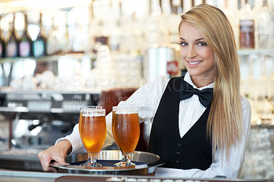 Buy stock photo Portrait of a beautiful waitress collecting and delivering drinks ordered