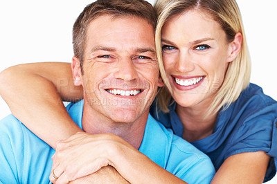 Buy stock photo Closeup portrait of handsome mid adult man smiling with woman over white background