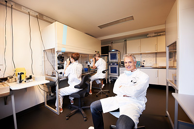 Buy stock photo Relaxed scientist sitting and colleagues working with microscopes in background
