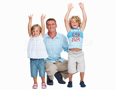 Buy stock photo Portrait of a man with his two kids over a white background