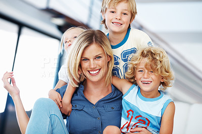 Buy stock photo Portrait of happy Caucasian woman enjoying time with cute kids