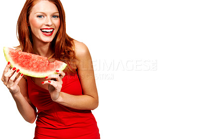 Buy stock photo Portrait of a young woman holding a fresh piece of watermelon