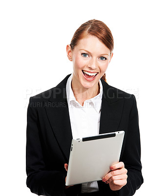 Buy stock photo Portrait of an executive laughing while working on her digital tablet