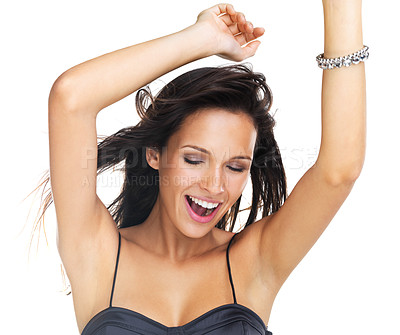 Buy stock photo Do a custom retouching request and we can extend this image with the missing arm if you need so. Closeup of a beautiful brunette laughing and dancing happily with her arms raised