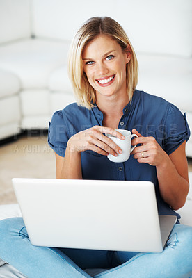 Buy stock photo Beautiful blond with laptop enjoying coffee at home