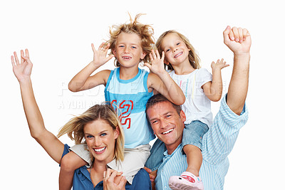Buy stock photo Portrait of a happy family against a white background