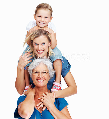 Buy stock photo Portrait of senior woman with her daughter and granddaughter over a white background
