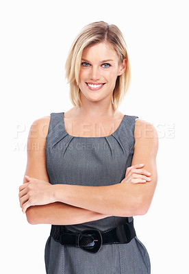 Buy stock photo Portrait of beautiful business woman smiling on white background