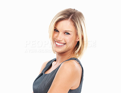Buy stock photo Closeup of happy beautiful woman smiling on white background