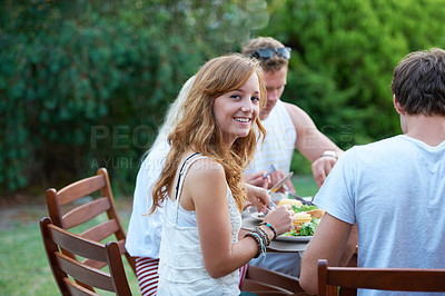 Buy stock photo Happy young teen at a lunch with a group of friends - portrait