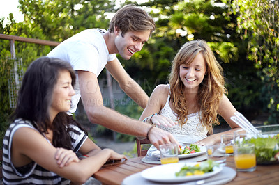 Buy stock photo Positive young people at a lunch with a group of friends - portrait