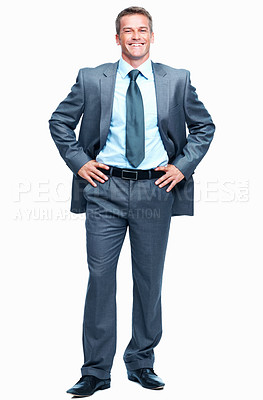 Buy stock photo Full length of handsome middle aged business man smiling over white background