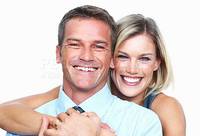 Buy stock photo Closeup of good looking business couple smiling together on white background