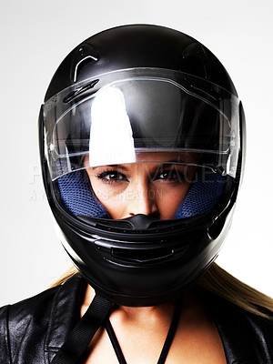 Buy stock photo Closeup of a lovely blonde in a motorcycle helmet