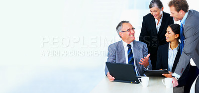 Buy stock photo Interracial and mixed ages business group meeting, with lots of copyspace to the left