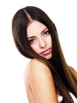 Sensuous woman with long straight hair