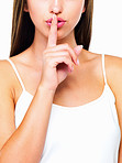 Woman gesturing for quit