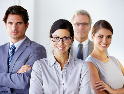 Buy stock photo Confident team of businesspeople standing together - portrait