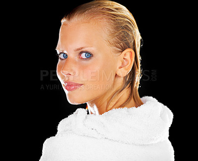 Buy stock photo Portrait of a blue eyed beauty after her shower - Isolated on black