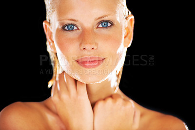 Buy stock photo Pretty young woman looking at you after her shower