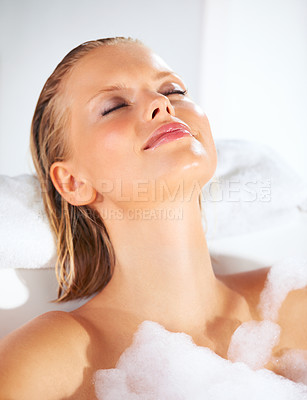 Buy stock photo Relaxed young beauty bathed in a foamy bath