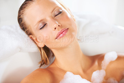 Buy stock photo Relaxed young woman in her bubble bath