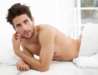 Buy stock photo Portrait of a handsome male waking up to the morning sunshine