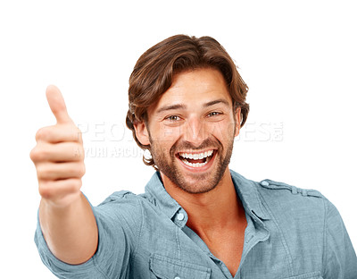 Buy stock photo Cropped shot of a man posing in the studio against a white background