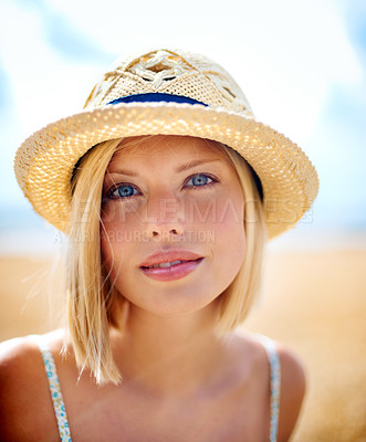Buy stock photo Closeup of a casual young woman outdoors - portrait