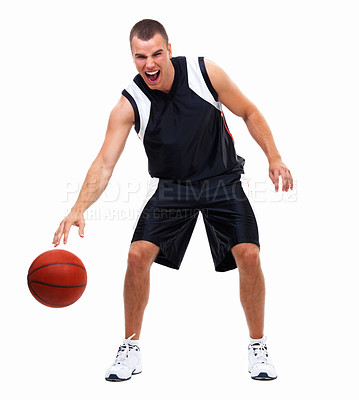 Buy stock photo Happy young boy holding basket ball in sports wear clothes against isolated white background
