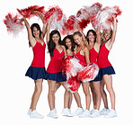 Smiling cheerleaders in red together on white