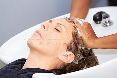 Buy stock photo An attractive young woman getting her hair washed at the hairdresser