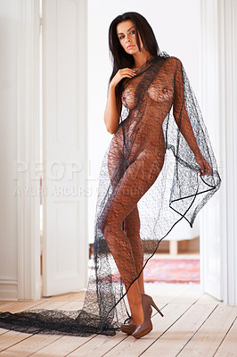 Buy stock photo Portrait of a beautiful nude young woman standing while holding a piece of netting