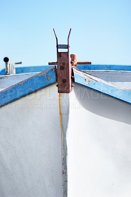 Buy stock photo Front of a small fishing boat with nobody inside it