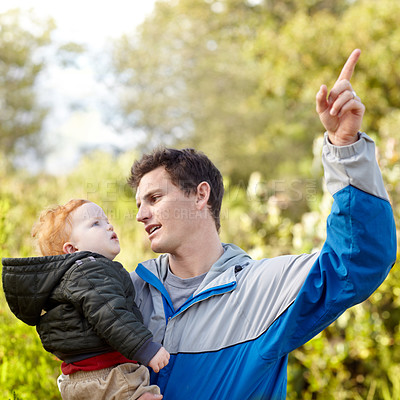 Buy stock photo A young father pointing something out to his son while hiking