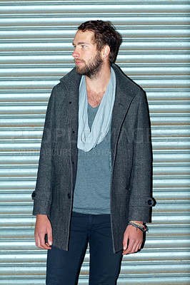 Buy stock photo Shot of a handsome hipster outdoors