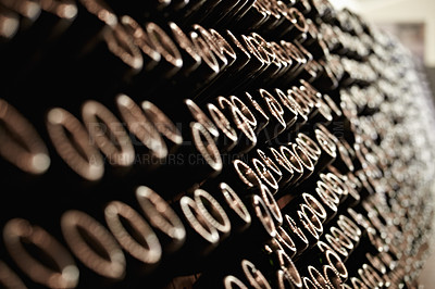 Buy stock photo Wine bottles packed in a wine cellar