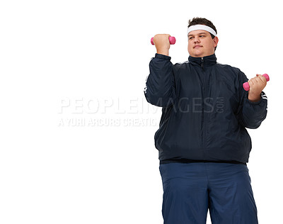 Buy stock photo A young overweight man lifting weights and isolated on white - copyspace