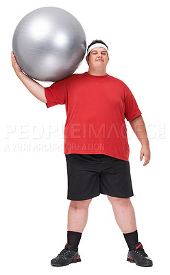 Buy stock photo A full length portrait of a young man exercising with a swiss ball