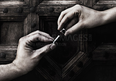 Buy stock photo Closeup of two hands holding a nut and bolt