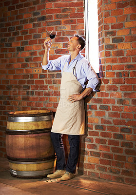 Buy stock photo A mature wine maker tasting a glass of red wine while in his cellar